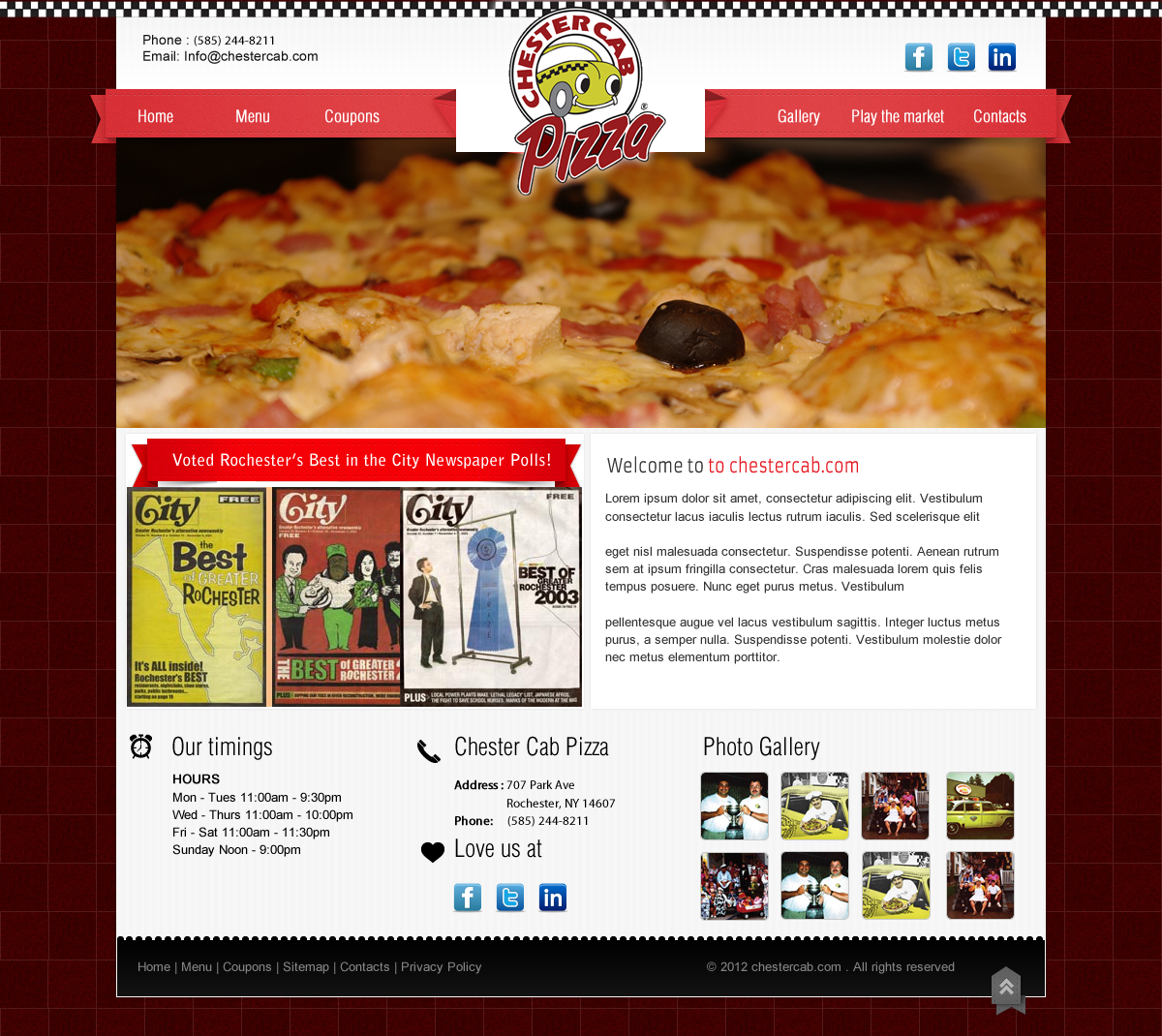 Chester Cab Pizza Web Mockup