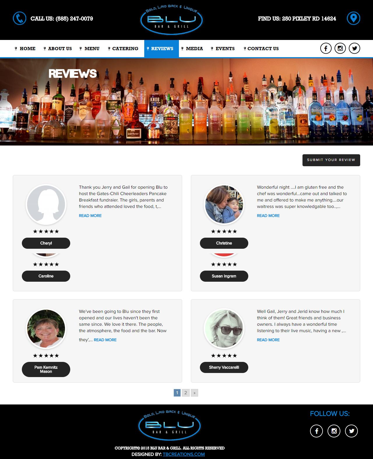 BLU Bar & Grill Website