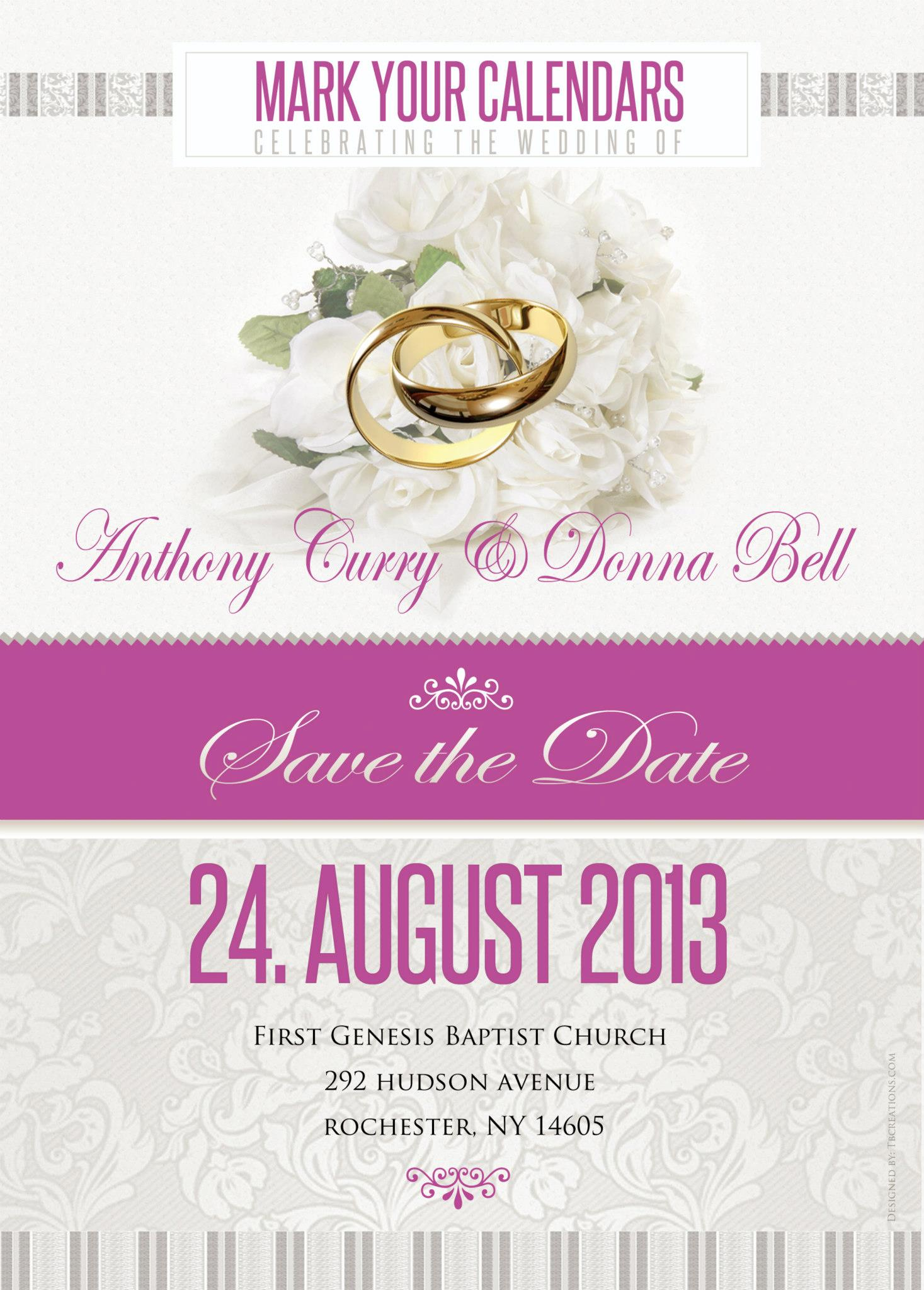 Anthony and Donna Curry Wedding Invite