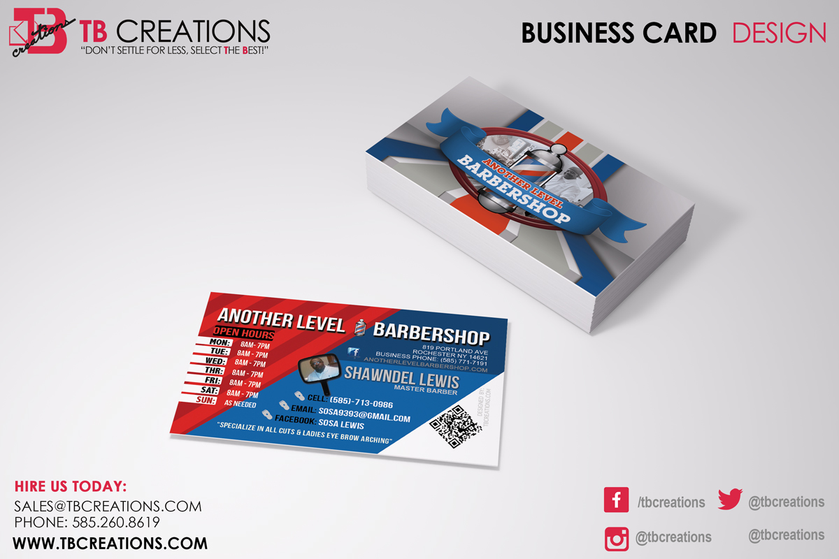 Another Level Barbershop - Business Cards - TB Creations - Rochester, NY