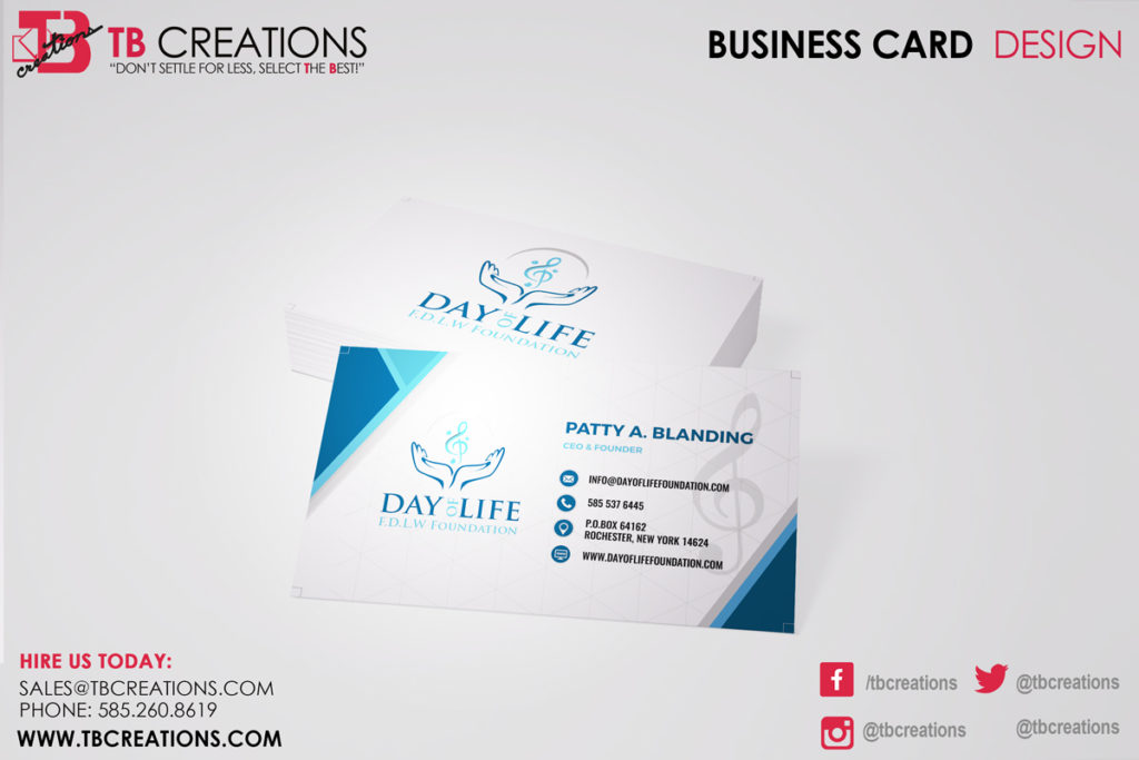 Day of Life Foundation Business Cards - TB Creations - Rochester, NY