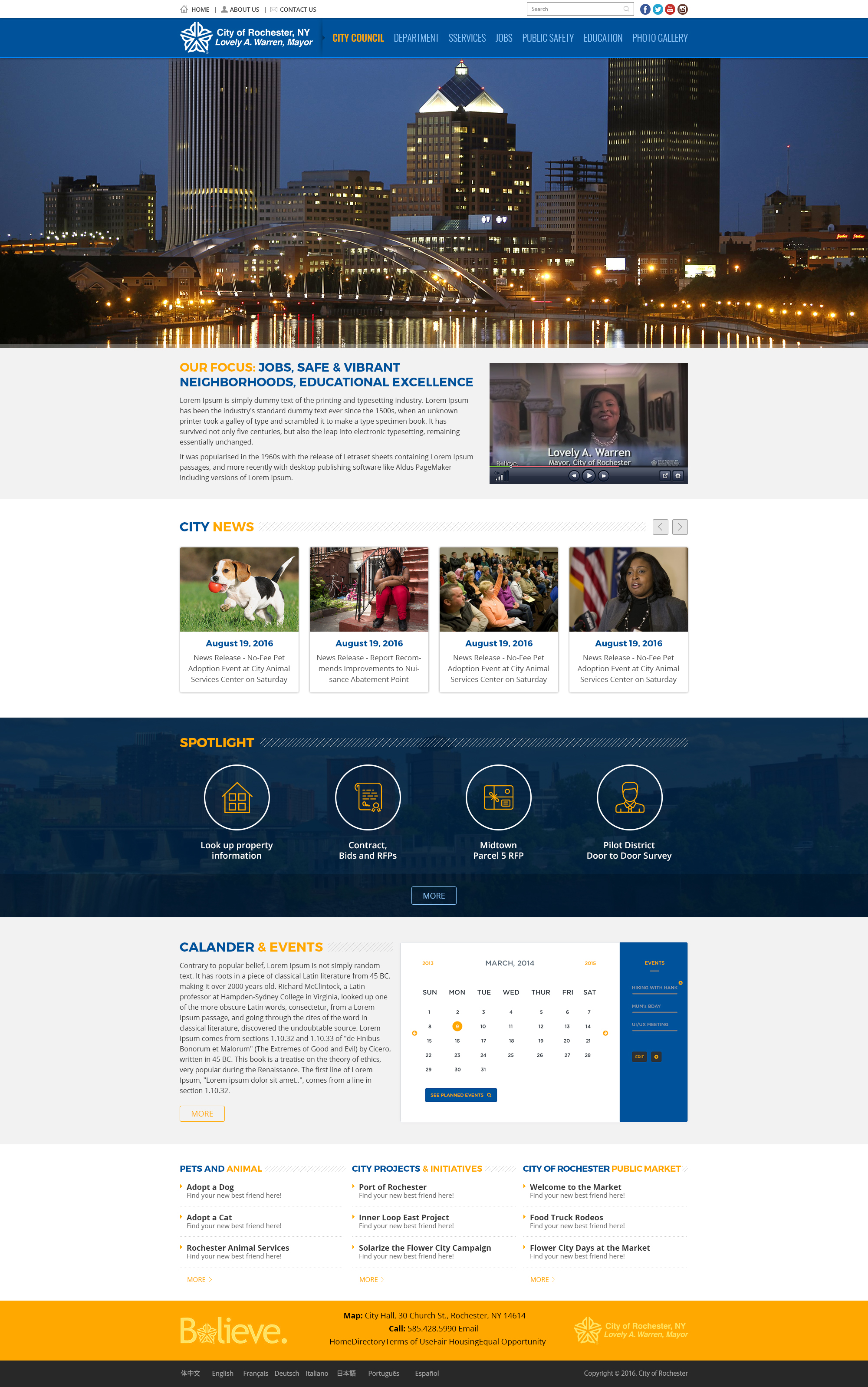 City of Rochester Website Mockup
