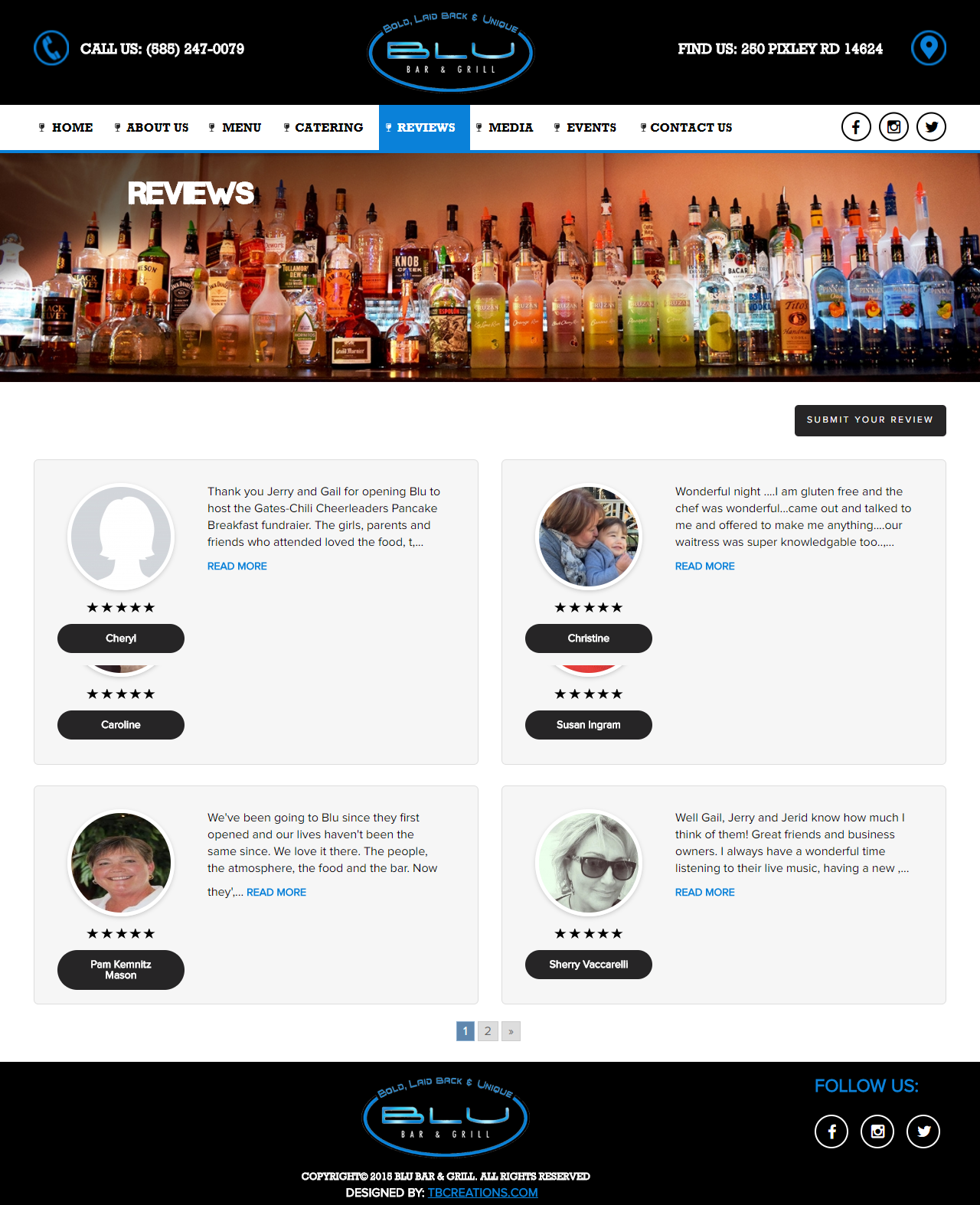 BLU Bar & Grill Website