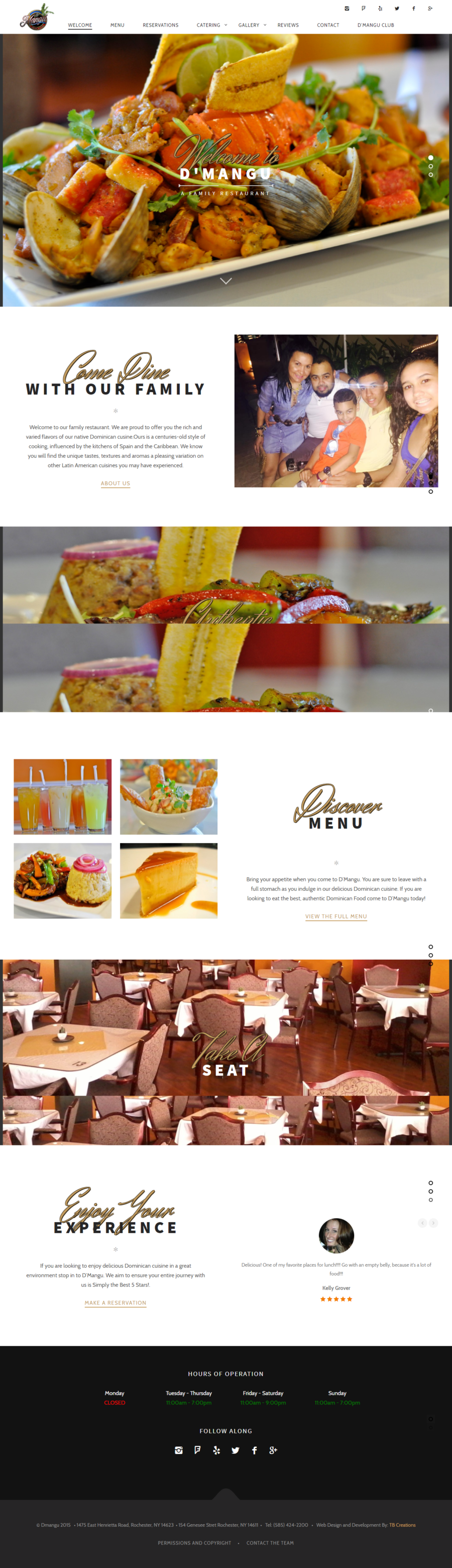 D'Mangu Restaurant Website