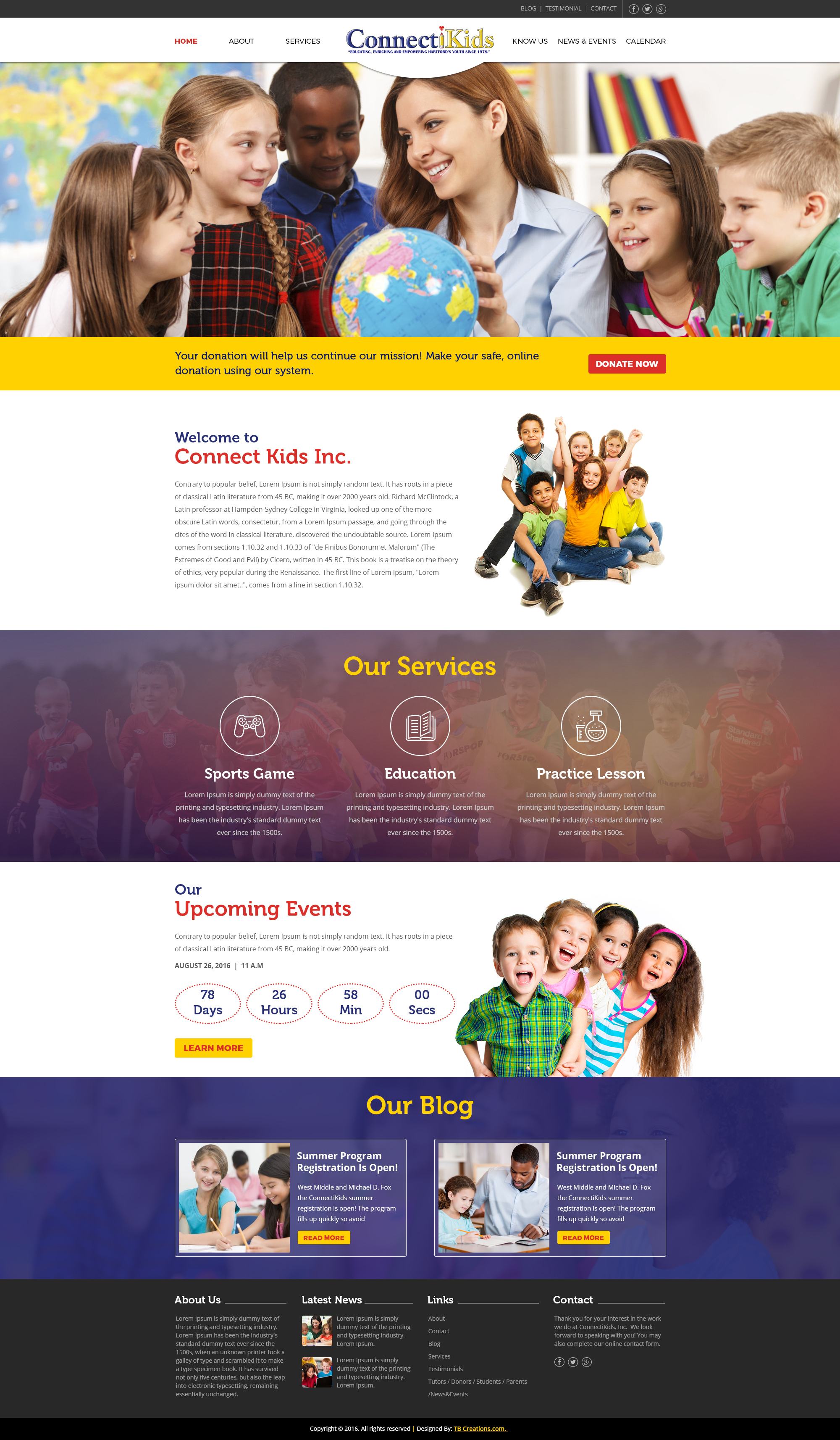 Connect KIds Website Mockup