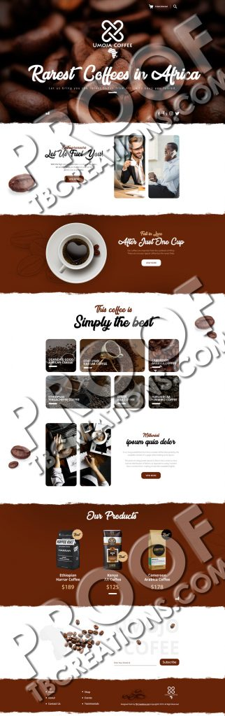 Umoja Coffee – Web Mockup