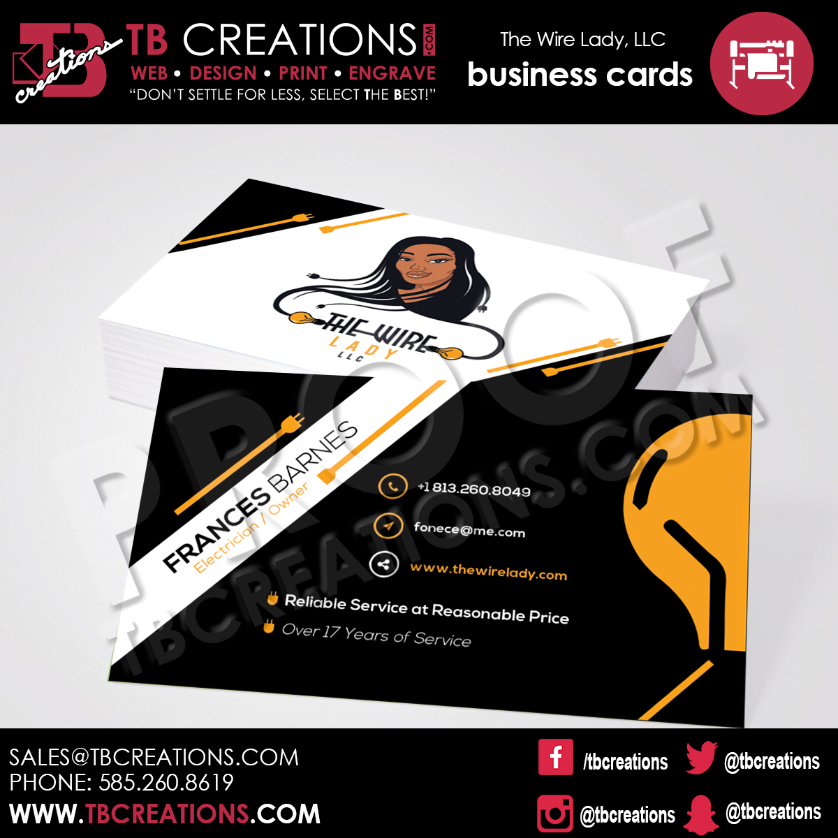 The Wire Lady LLC – Business Cards